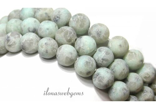 Jasper beads mint-green speckled about 10mm
