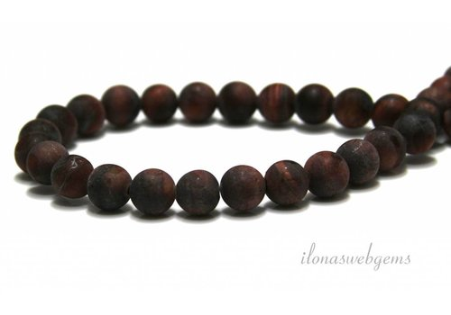 Tiger eye beads red mat around approx. 6mm