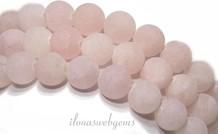 Rosenquarz Perlen rund um 8mm gefrostet