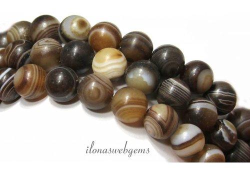 Agaat Streifen-Achat Perlen rund ca. 10mm mattiert