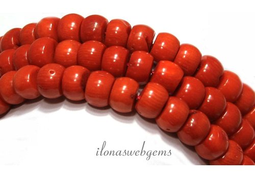 Blood coral beads 'old Dutch' approx 12-14x8mm