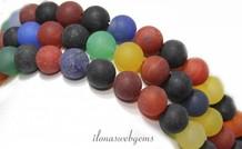 Achat Perlen Matte rund ca. 10mm mischen
