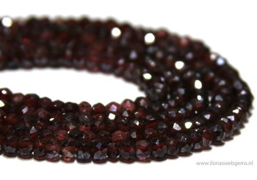 Garnet beads facet round about 4x2.5mm A quality