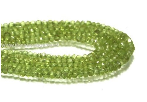 Peridot beads facet round about 3x2mm