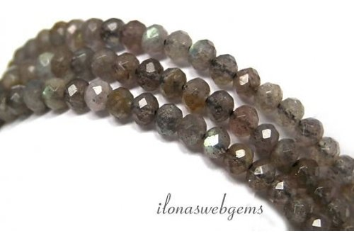 Labradorite beaded facet round about 5x3.5mm AA quality