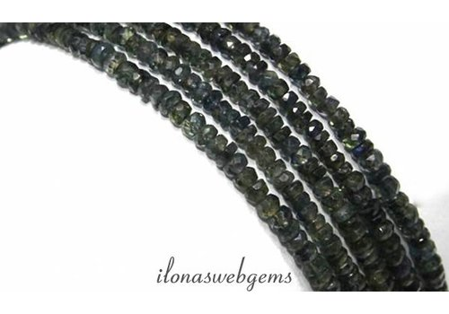 Sapphire beads facet round about 3x2mm A quality