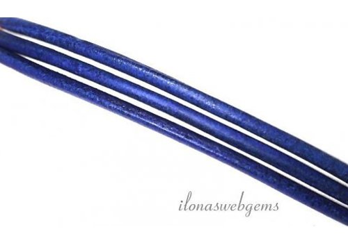Leather cord dark blue 2mm