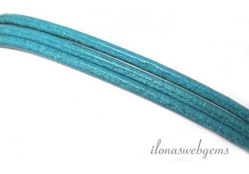 Leren koord turquoise 2mm
