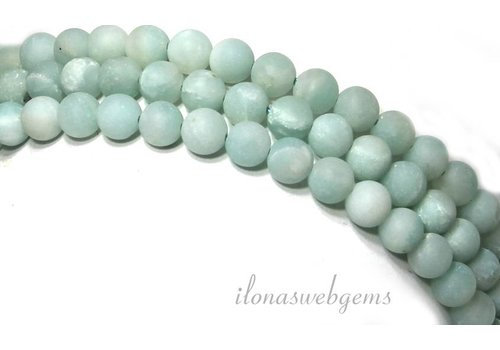 Amazonit Perlen rund um 6mm gefrostet