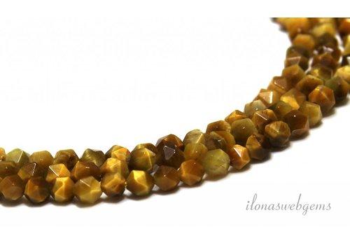 Gele Tijgeroog kralen facet ca. 5mm