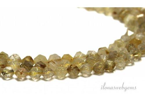 Rutielkwarts Perlen Facette etwa 6 mm