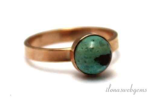 Inspiration Ring: rose vermeil, 8mm Chrysocolla cabochon