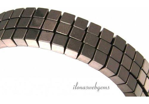 Hematiet kralen kubus ca. 6mm