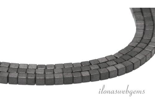 Hematiet kralen vierkant mat ca. 4mm