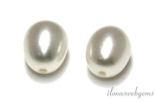 1 pair of freshwater pearls half pierced approx. 10-10.5mm