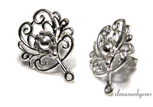 Sterling zilveren oorknopjes ca. 17x20mm
