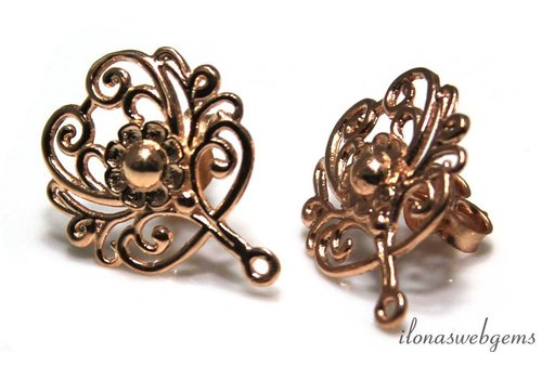 Rosé Vermeil ear studs approx 17x20mm