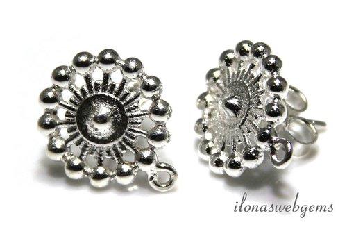 Sterling zilveren oorknopjes ca. 13x16mm