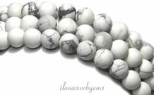 Howlith Perlen weiße Matte um etwa 6 mm
