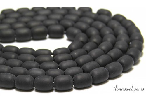Onyx Perlen bereift ca. 13x11mm