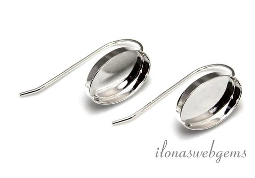 1 Paar Sterling Silber Ohrhaken für cabochon 14x10mm