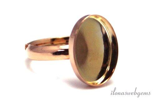 Rosé vermeil ring for cabochon 14x10mm