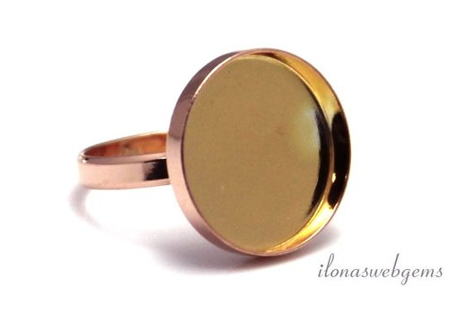Rosé vermeil ring voor cabochon 18mm