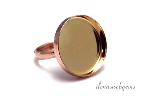 Rosé vermeil ring for cabochon 20mm