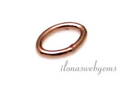 10 stuks Rosé 14k/20 Gold filled oogje gesloten ovaal ca. 5x3.5x0,6mm