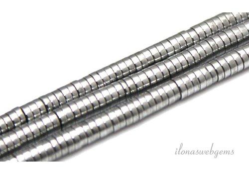 Hematiet discs zilver ca. 3x1mm