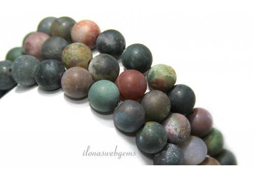 Agaat Indian Achat Perlen rund ca. 12mm mattiert