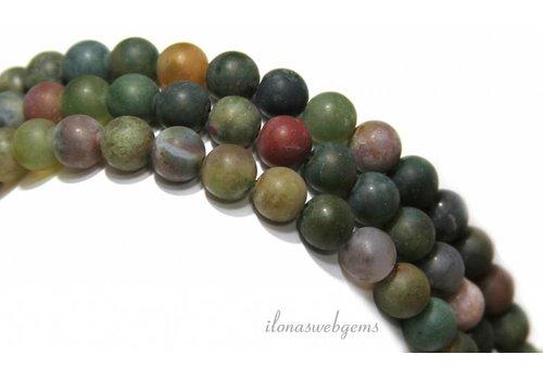 Agaat Indian Achat Perlen rund ca. 10mm mattiert