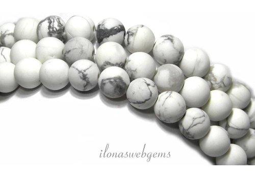 Howliet kralen wit mat rond ca. 12mm