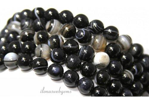 Schwarze Streifen Achat Perlen etwa 8mm