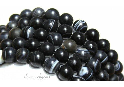 Schwarze Streifen Achat Perlen bereift rund ca. 10mm