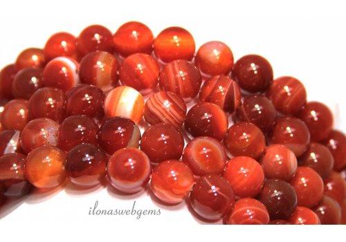 Agaat Red Stripe Achat Perlen ca. 10mm