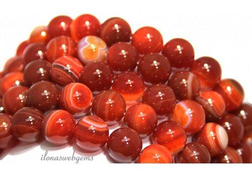 Agaat Red Stripe Achat Perlen ca. 12mm