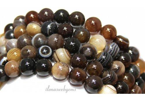 Agaat Brown Streifen Achat Perlen um 10mm ca.