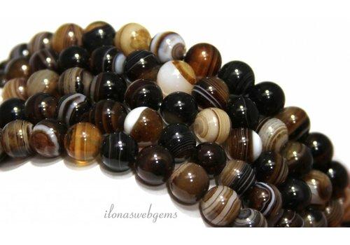 Brown Streifen Achat Perlen etwa 8mm