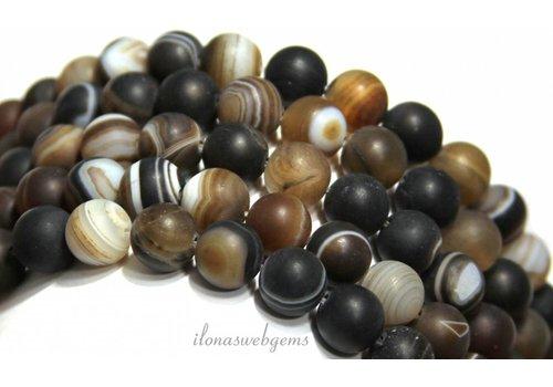 Agaat Brown-Streifen-Achat Perlen bereift rund ca. 10mm