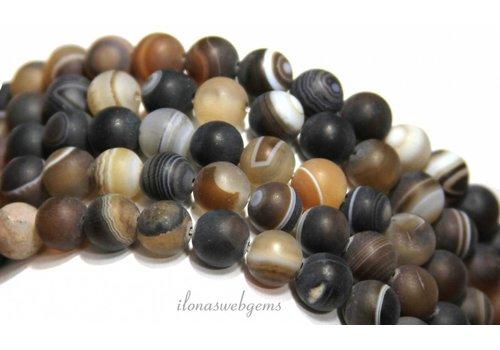Brown stripe agate beads mat around 8mm