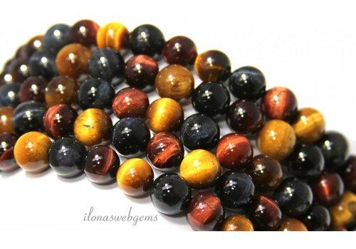 Tigereye Perlen rund um 8mm mischen