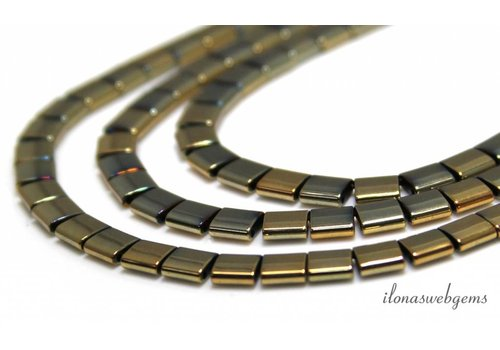 Hematite beads gold blue 6x5x2mm