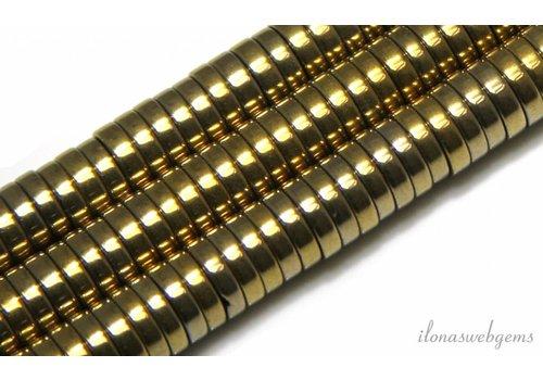 Hematiet kralen discs goud 8X2mm