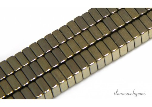 Hematite beads gold 6X6x3mm