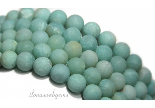 Amazonit Perlen rund um 8mm gefrostet
