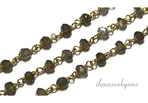10cm Vermeil Halskette mit Perlen Labradorit - Copy