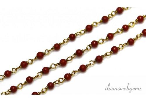 10 cm Vermeil Halskette mit Perlen rote Koralle