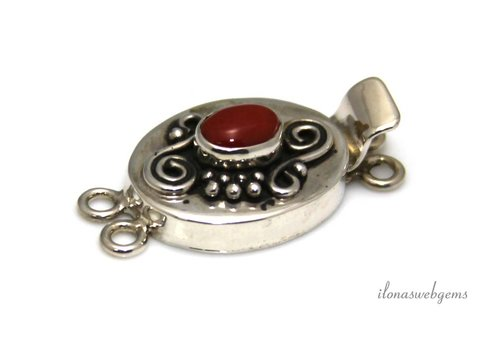 Sterling silver bowl with blood coral ca 30x16x8mm