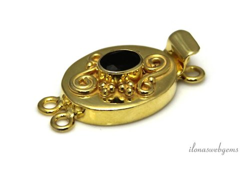 Vermeil baklock with facet Onyx ca. 30x16x8mm